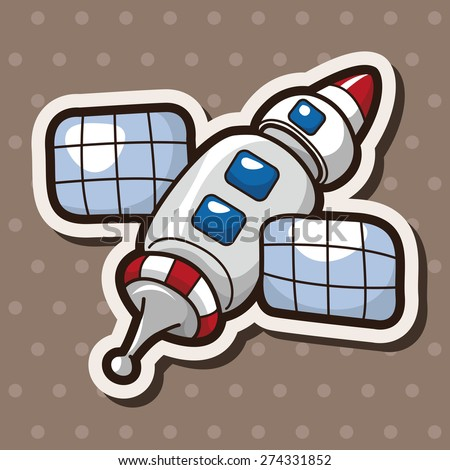 spaceship , cartoon sticker icon