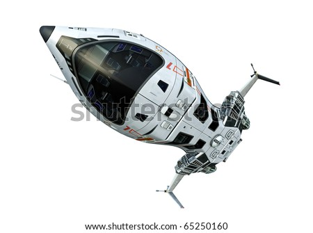 spaceship close up upside down white background
