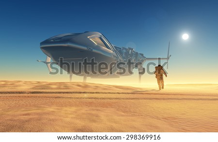 Spaceship crashed on the beach. - stock photo