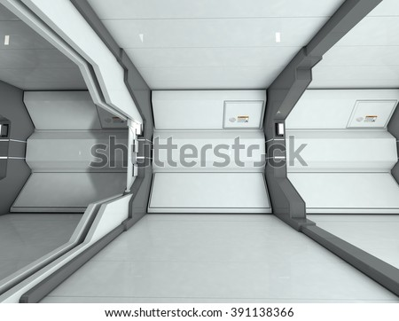 spaceship 3d render - stock photo