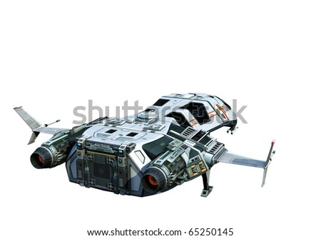 spaceship going home white background - stock photo