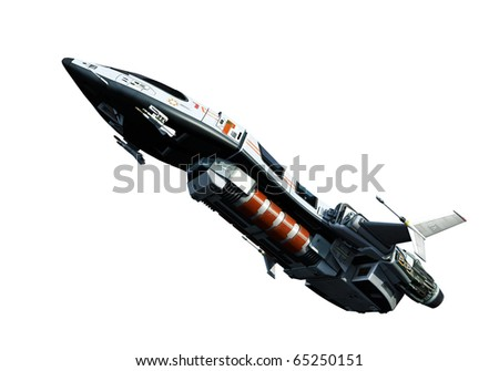 spaceship going up white background - stock photo