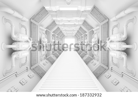 Spaceship interior bright white center view with floor - stock photo