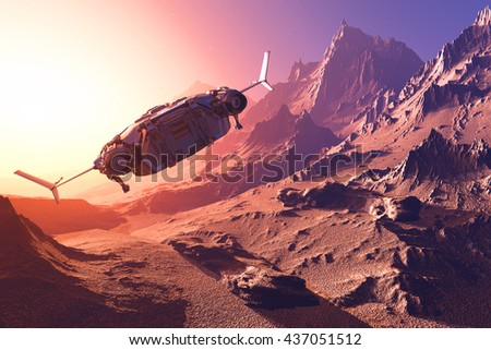Spaceship on the background of the planet. 3d render - stock photo