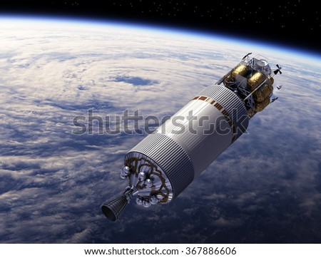 Spaceship Orbiting Earth. 3D Scene. (NASA IMAGES NOT USED!) - stock photo