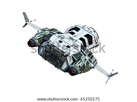 spaceship turning around white background - stock photo