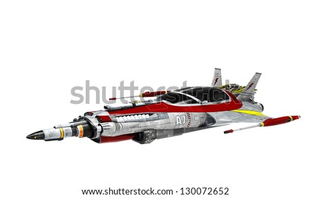 spaceship white background pose 5