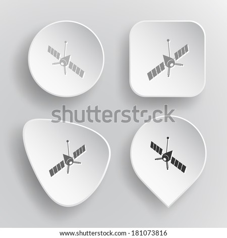 Spaceship. White flat raster buttons on gray background. - stock photo