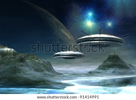 Spaceships on an alien planet