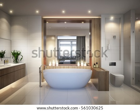 Spacious And Bright Modern Bathroom With White Tile, Large Mirror, Bathtub  And Shower Cabin Part 95