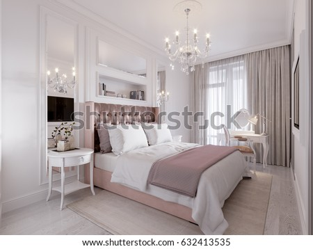 Spacious And Bright Modern Contemporary Classic Bedroom Interior Design  With Large Window, White Walls,