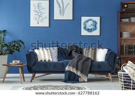 Spacious Blue Living Room Designed In Old Style