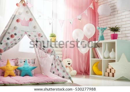 Spacious Children Room Play Tent Girl Stock Photo 530277988 - Shutterstock & Spacious Children Room Play Tent Girl Stock Photo 530277988 ...