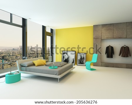 Spacious Colorful Bedroom Interior With Yellow Wall Accents Turquoise Chair And Cabinets A Double