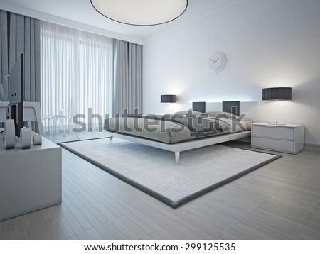 Spacious Contemporary Styled Bedroom With Double Bed White Carpet And Light Grey Walls Furniture