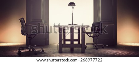 Spacious corporate office interior with a desk and chairs centered in front of an alcove flanked with pillar detail on an old herringbone pattern parquet floor. 3d Rendering.  - stock photo