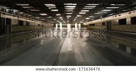 spacious desolate subway station illustration - stock photo