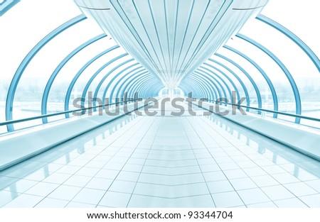 spacious diminishing transparent corridor - stock photo