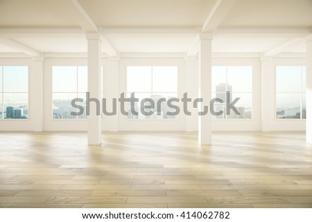 Spacious empty interior design with columns, wooden floor and windows with city view. 3D Rendering - stock photo