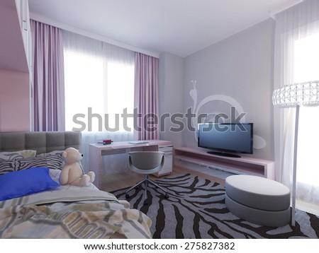 Spacious girl bedroom design. 3d render - stock photo