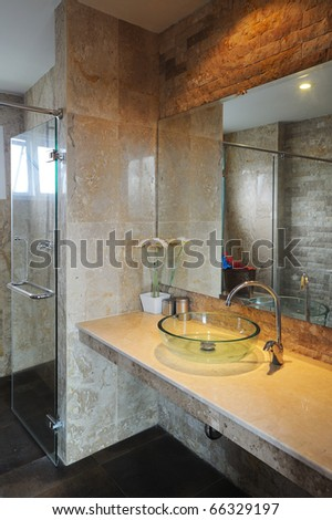Spacious Modern Bathroom Sink and Shower. - stock photo