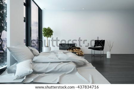 Spacious modern bedroom with sparse furnishings and unmade bed besides floor to ceiling windows. 3d Rendering.