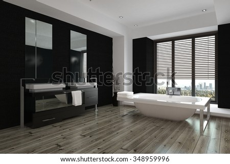 modern black white. simple black spacious modern black and white bathroom interior with double vanities  a mirror along one wall throughout modern black white n