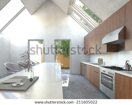 Spacious open-plan kitchen with a bar counter, modern modular stools, built in wooden cabinets and appliances in a high volume house with skylights - stock photo