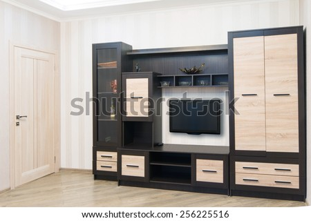 Spacious room with furniture, large closet and TV. Modern Style - stock photo