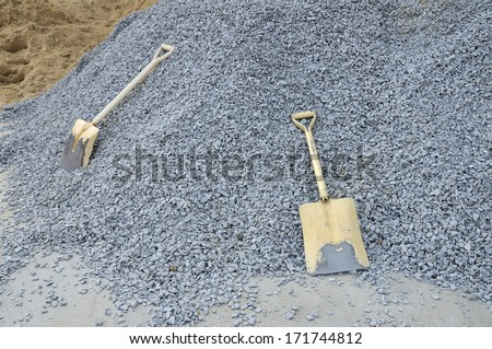 Spade and tools in construction area