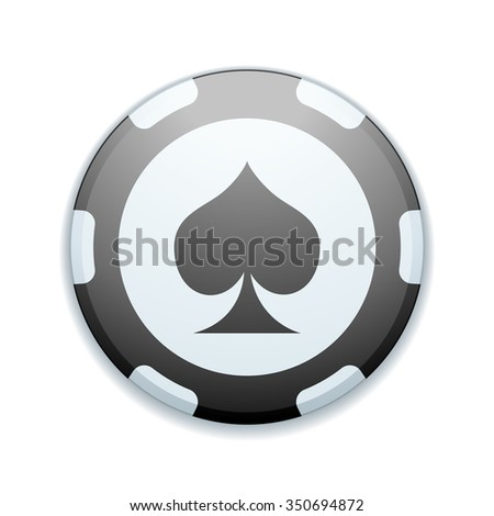 Spade suit Poker chip - stock photo