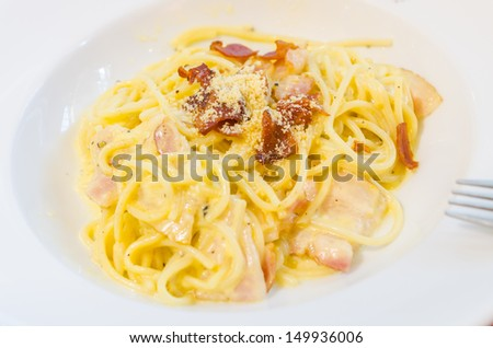 Spagetti ham and becon - stock photo