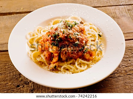 Spagetti with seafood. Shallow depth of field.