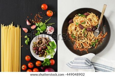 Spaghetti alla Puttanesca. The Ingredients and the Dish. Copy Space - stock photo