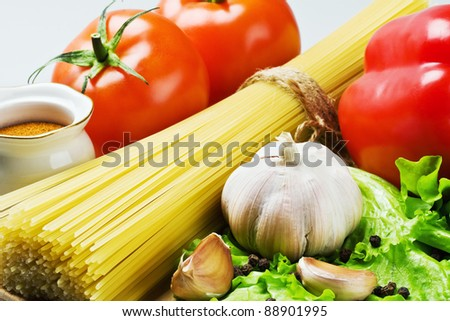 spaghetti and fresh vegetables - stock photo