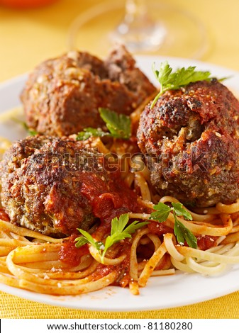 spaghetti and meatball dinner - stock photo