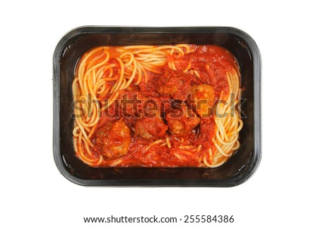 Spaghetti and meatballs in a carton isolated against white - stock photo