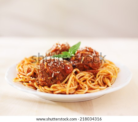 spaghetti and meatballs with copyspace - stock photo