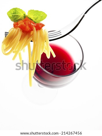 spaghetti and red wine isolated on white background - stock photo