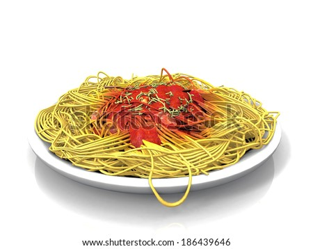 spaghetti  and tomato sauce - stock photo