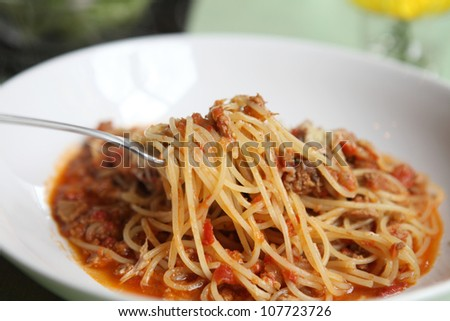 spaghetti beef bolognese - stock photo