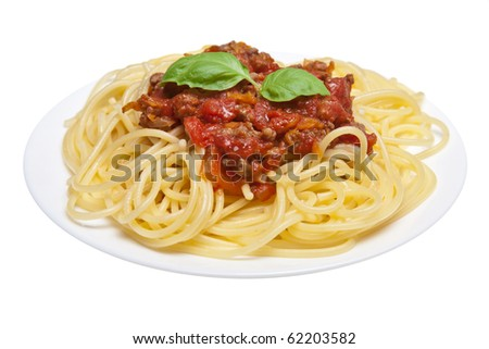 spaghetti bolognese isolated - stock photo