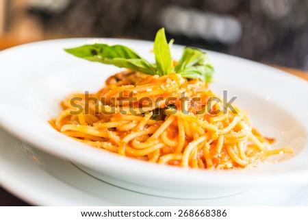Spaghetti bolognese - Italian food - stock photo