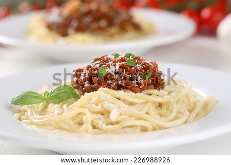 Spaghetti Bolognese noodles pasta meal food on a plate - stock photo