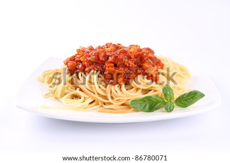 Spaghetti bolognese on a plate - stock photo