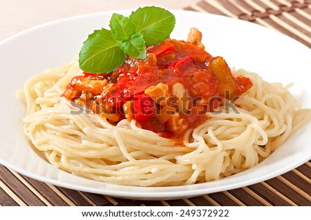 Spaghetti bolognese pasta with tomato sauce and meat - stock photo
