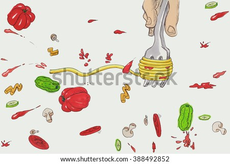 Spaghetti cartoon food concept illustration over white