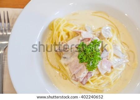 spaghetti chicken - stock photo