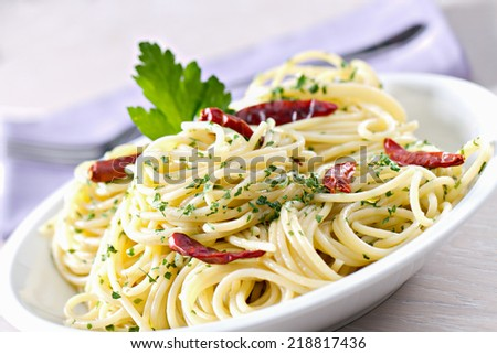 Spaghetti garlic oil and red chili pepper - stock photo