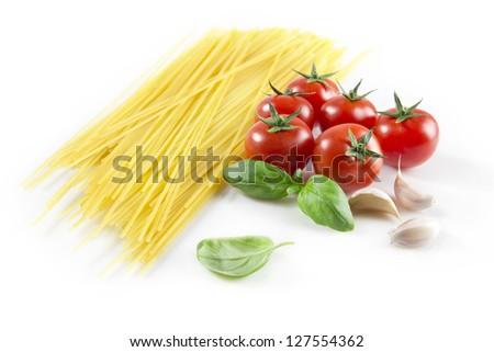spaghetti ingredients isolated on white background - stock photo